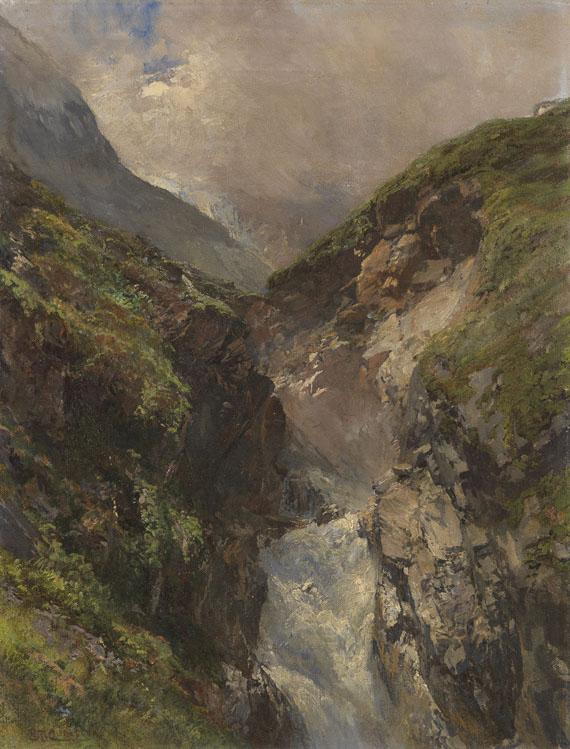 Edward Theodore Compton - Gebirgsschlucht mit tosendem Wasserfall