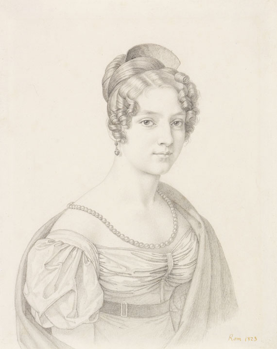 Carl Adolf Senff - Zugeschrieben - Porträt einer jungen Dame mit Perlenkette