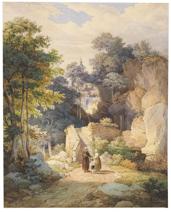 Friedrich Würthle - An der Treppe zur Wallfahrtskirche St. Magdalena auf der Biber bei Brannenburg