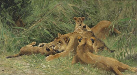 Wilhelm Kuhnert - Spielende Löwen