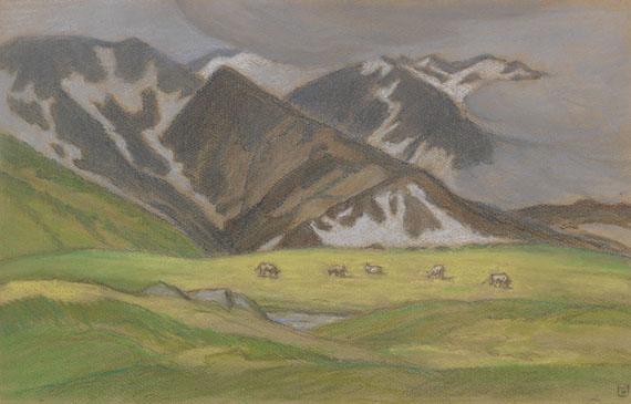 Ludwig von Hofmann - Schweizer Alpenlandschaft mit weidenden Kühen