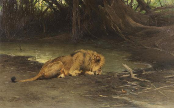 Wilhelm Kuhnert - Löwe an der Tränke
