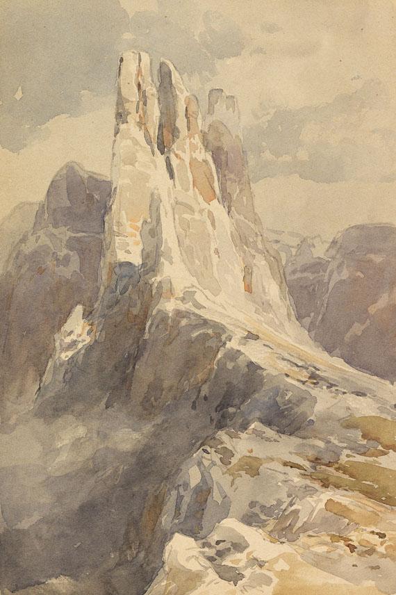 Edward Theodore Compton - Blick auf die Vajolet-Türme in den Dolomiten