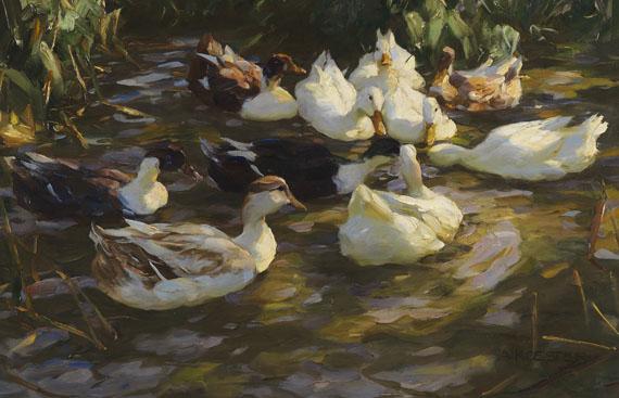 Alexander Koester - Enten im Teich (Enten am Bach)