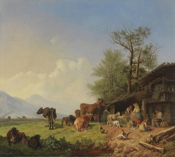Heinrich Bürkel - Bauernhof mit Brunnen