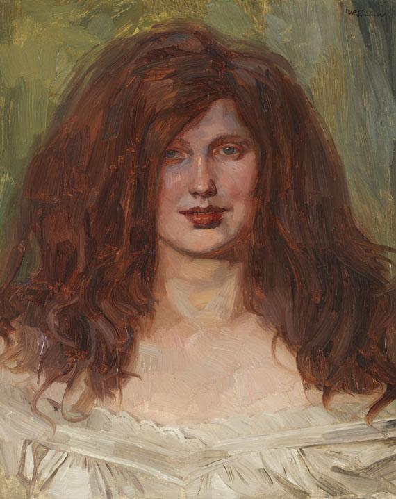 Wilhelm Trübner - Mädchenkopf mit aufgelöstem Haar I