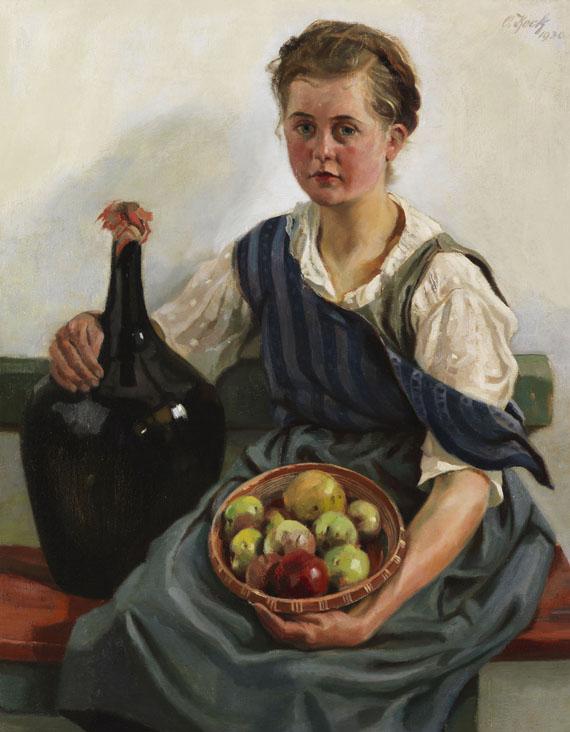 Otto Keck - Mädchen mit Obstkorb und Weinflasche