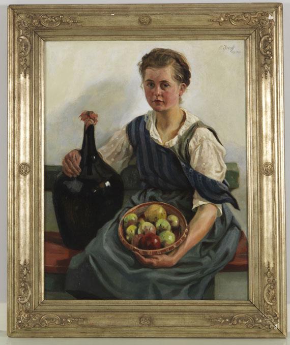 Otto Keck - Mädchen mit Obstkorb und Weinflasche - Rahmenbild
