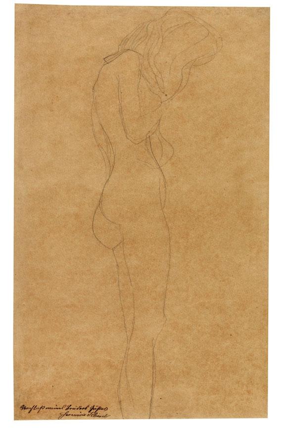 """Gustav Klimt - Weiblicher Akt mit langen Haaren (Studie für """"Jurisprudenz"""")"""