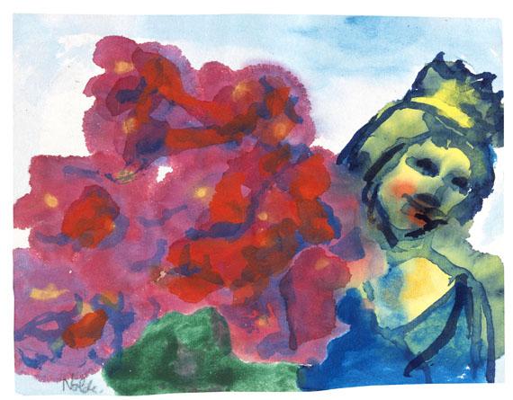 Emil Nolde - Madonna mit roten Blumen