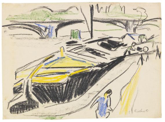 Ernst Ludwig Kirchner - Schleppkahn am Elbufer im Hintergrund die Carolabrücke