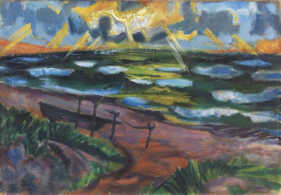 Pechstein - Stürmisches Wetter an der Ostsee (Beschienene Wellen)