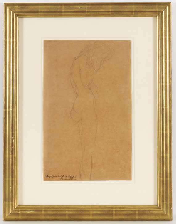 """Gustav Klimt - Weiblicher Akt mit langen Haaren (Studie für """"Jurisprudenz"""") - Frame image"""