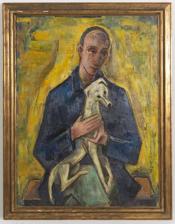 Karl Hofer - Mann (Jüngling) mit Hund - Rahmenbild