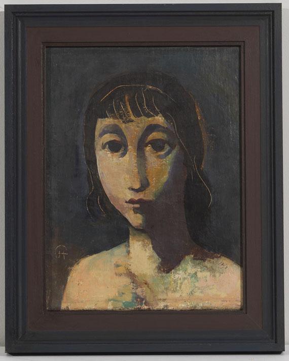 Karl Hofer - Mädchenkopf mit dunklem Haar - Rahmenbild