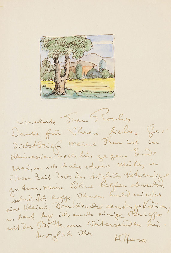 Hermann Hesse - Eigh. Brief mit Orig.-Aquarell