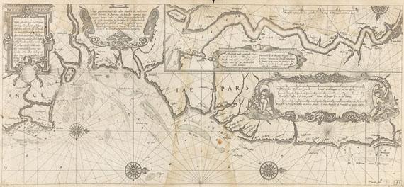 Atlanten - Blaeu, W. J., Licht der Zee-Vaert, daraus 37 Bll. Seekarten. 1618.