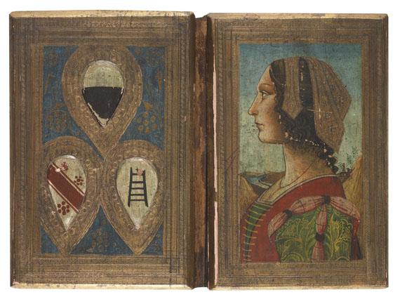 Einbandmalerei - Bucheinbanddeckel mit Portrait- u. Wappenmalerei