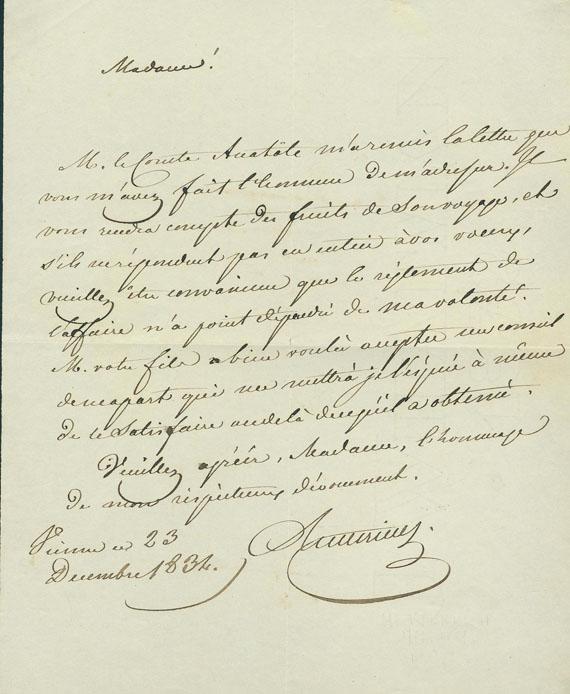 Clemens von Metternich - Brief m. U. + eigh. Brief m. U., zus. 2 Tle.