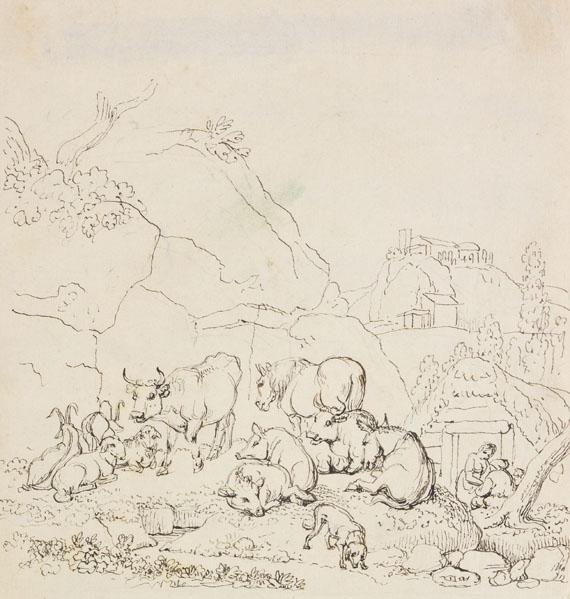 Johann Heinrich Wilhelm Tischbein - Hügellandschaft mit lagernder Viehherde und Bauernfamilie