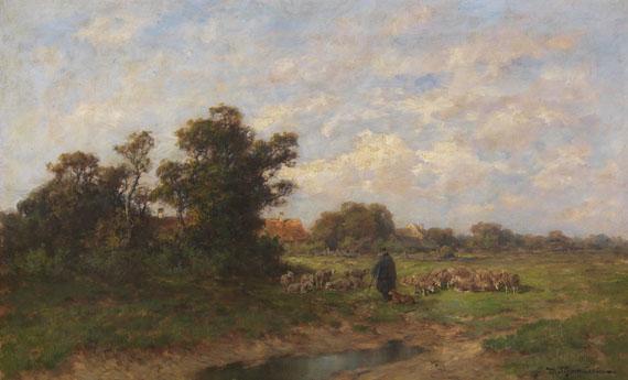Désiré Thomassin - Schäfer mit seiner Herde am Dorfrand