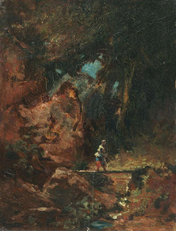 Carl Spitzweg - Die Sennerin auf dem Waldsteg