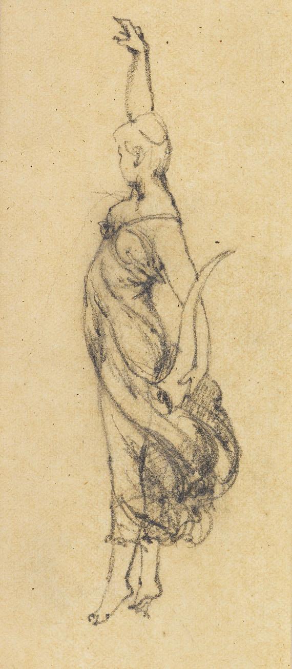 Anton von Werner - Allegorische Frauenfigur mit Füllhorn (Skizzenblatt)
