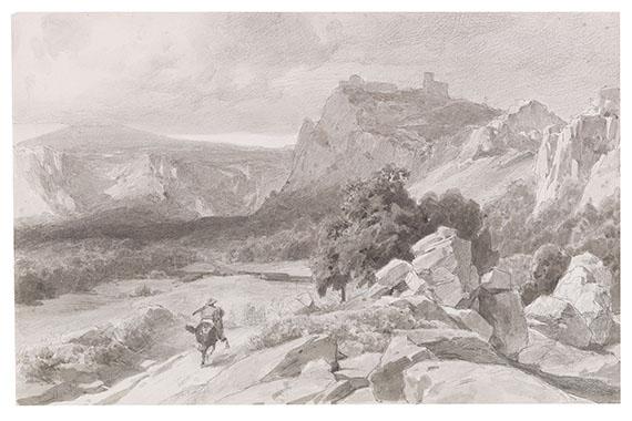 Anton von Werner - Blick auf die Burgruine Regenstein im Harz