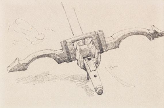 Anton von Werner - 3 Bll.: Ochsengespann. Deichsel mit Joch. Fuhrwerk (Skizzenbuchblätter) - Weitere Abbildung