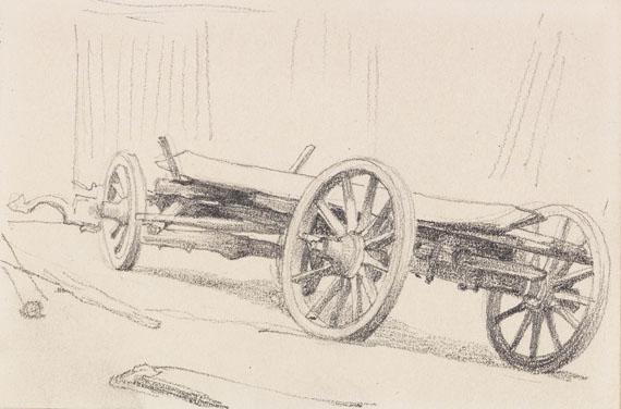 Anton von Werner - 3 Bll.: Ochsengespann. Deichsel mit Joch. Fuhrwerk (Skizzenbuchblätter)
