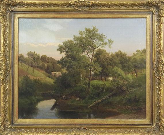 Eduard Leonhardi - Flussaue mit Bauernhaus und Viehhirte - Rahmenbild
