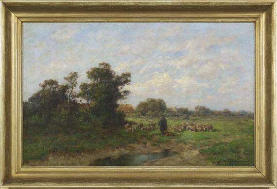 Désiré Thomassin - Schäfer mit seiner Herde am Dorfrand - Rahmenbild