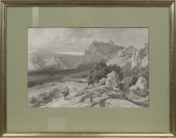 Anton von Werner - Blick auf die Burgruine Regenstein im Harz - Rahmenbild