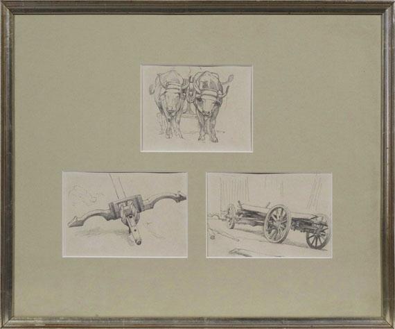 Anton von Werner - 3 Bll.: Ochsengespann. Deichsel mit Joch. Fuhrwerk (Skizzenbuchblätter) - Rahmenbild