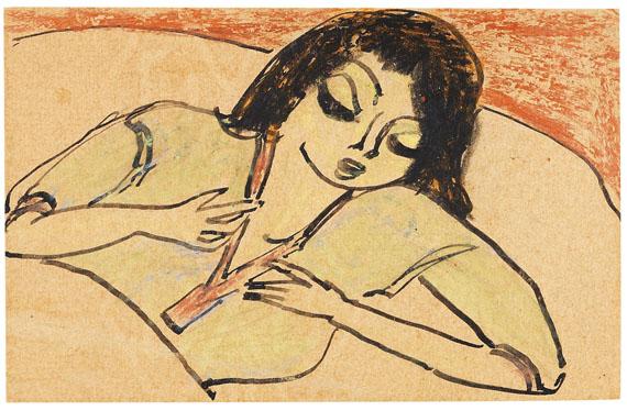 Erich Heckel - Liegende Frau im Bett