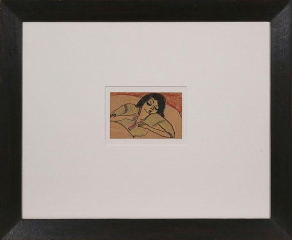 Erich Heckel - Liegende Frau im Bett - Rahmenbild