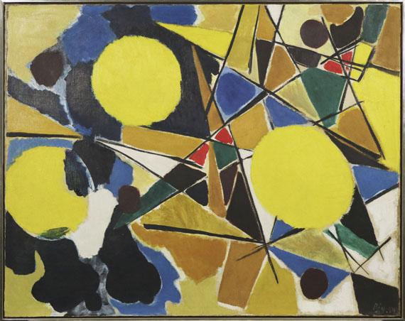 Ernst Wilhelm Nay - Drei gelbe Scheiben - Rahmenbild