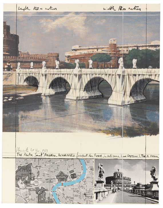 Christo - The Ponte Sant Angelo, wrapped/ Project for Rome