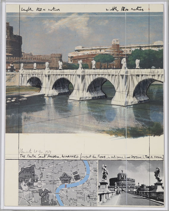 Christo - The Ponte Sant Angelo, wrapped/ Project for Rome - Frame image