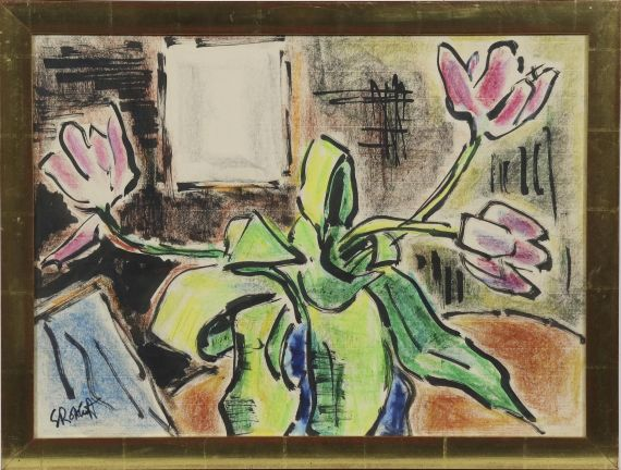 Karl Schmidt-Rottluff - Stillleben mit Tulpen - Rahmenbild
