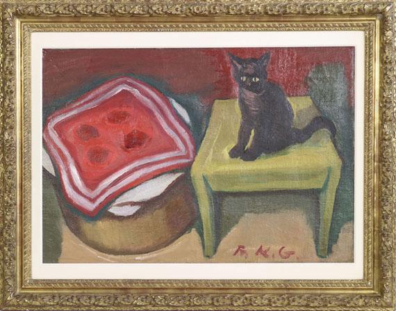 Friedrich Karl Gotsch - Katze auf dem Tisch - Rahmenbild
