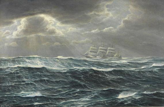 """Johannes Holst - Viermastbark auf stürmischer See. """"Cap Horn mit Viermaster"""""""