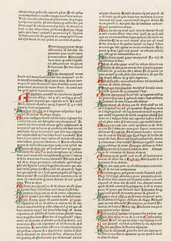 - Inkunabelblatt-Sammlung. 70 Bll. in 3 Ringbüchern. - Weitere Abbildung