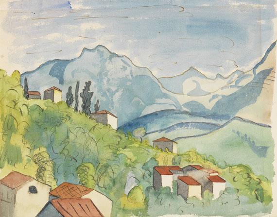Hermann Hesse - Ansicht von Tessin. Original Aquarell.