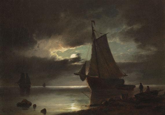 Carl Ludvig Bille - Mondschein an der Küste