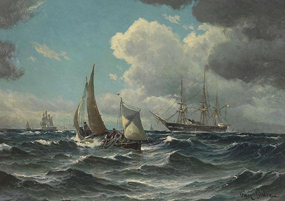 Vilhelm Bille - Fischerboot und Dampfsegler auf bewegter See