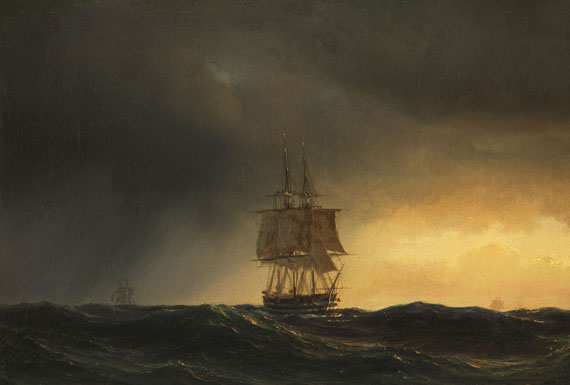Anton Melbye - Großer Segler auf hoher See