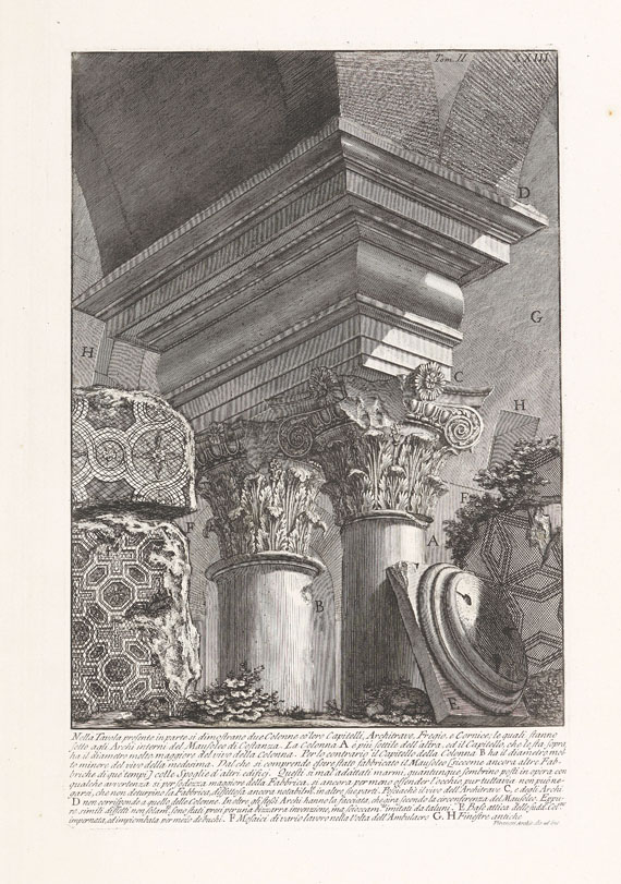 "Giovanni Battista Piranesi - 17 Bll. Architekturdarstellungen aus ""Le Antichità Romane"", 1756."
