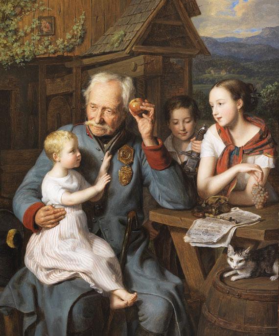Ferdinand Georg Waldmüller - Ein alter Invalide mit drei Kindern