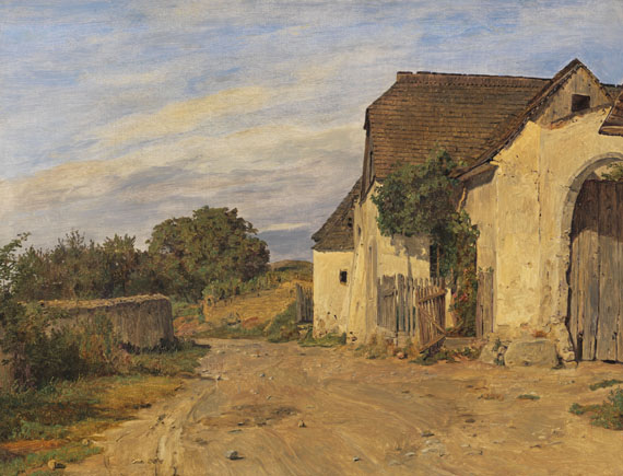 Ferdinand Georg Waldmüller - Landweg mit altem Bauerngehöft